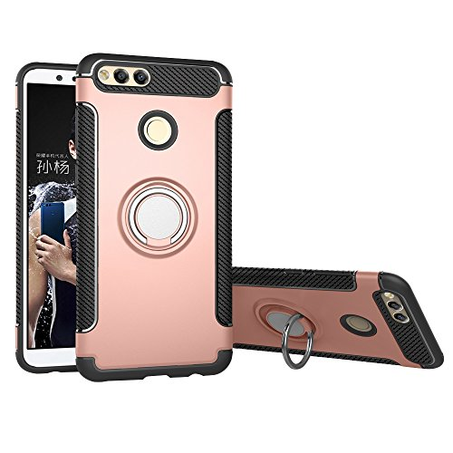 Case Compatible with Huawei Mate SE/Honor 7 X 5.93 Inch DWaybox Hybrid Back Case 360 Degree Rotation Ring Holder Compatible with Magnetic Car Mount Holder (Rose Gold)