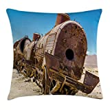 Ambesonne Vintage Throw Pillow Cushion Cover, Rusty Old Abandoned Steam Train Locomotive Cemetery Railroad Wreck Picture Print, Decorative Square Accent Pillow Case, 16 X 16 inches, Blue Brown