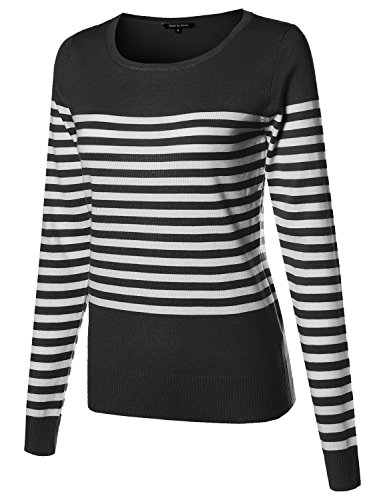 Made by Emma Round Neck Striped Pullover Long Sleeve Top Black M