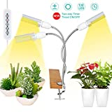 LED Grow Lights White Sunlike, 68W 132 LED 3-Head Plant Grow Light, with Auto ON/Off Two-Way Timer, 5 Dimmable Levels & 3 Switch Modes, 360 Degree Gooseneck Full Spectrum Plant Grow Lamp