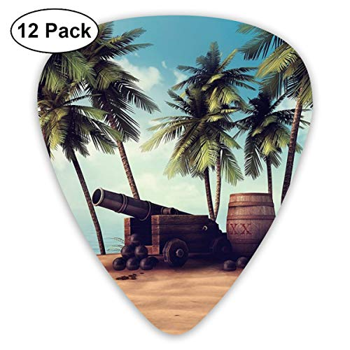 V5DGFJH.B Cannon and Barrels On Tropical Beach Classic Guitar Pick Player's Pack for Electric Guitar,Acoustic Guitar,Mandolin,Guitar Bass -