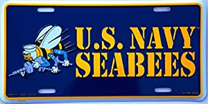 EagleEmblems US Navy Seabees License Plate from EagleEmblems