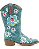 Let your little one kick up their heels in these Blazin Roxx cowgirl boots These boots feature a turquoise faux leather foot with floral embroidery under a matching shaft. Blazin Roxx logo embroidered pull straps. Cowgirl heel and snip toe. I...