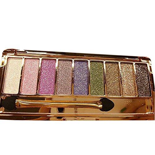 Silvercell 9 Colors Eye Shadow Palette Makeup Set,Glitter Diamond Eyeshadow Set with Brush