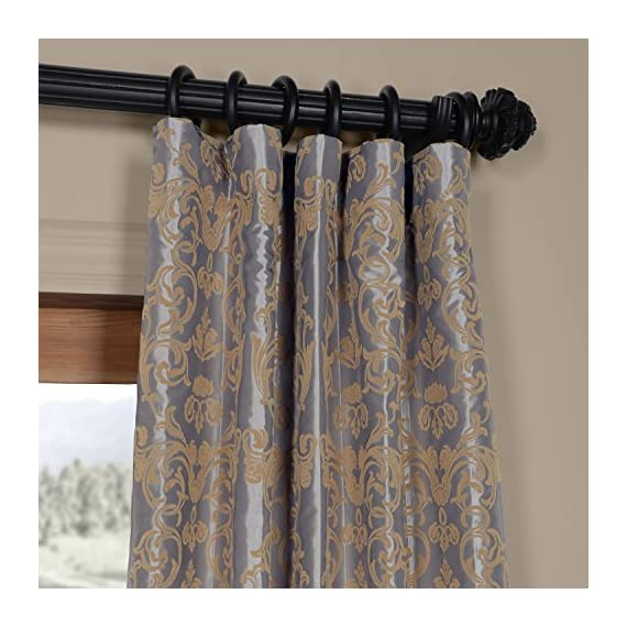 HPD Half Price Drapes PTFFLK-C7E-96 Flocked Faux Silk Curtain, 50 X 96, Silver & Gold - Sold per panel 100Percent polyester | lined 3Pole pocket with hook belt - living-room-soft-furnishings, living-room, draperies-curtains-shades - 51XbbYWz5OL. SS570  -