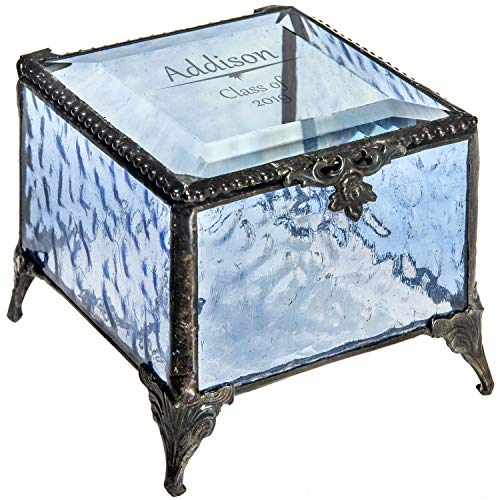 Personalized Graduation Gift for Her Blue Glass Jewelry Box Engraved Keepsake for High School Graduate Or College Grad Class of 2019 Daughter, Granddaughter, Girl, Friend J Devlin Box 837 EB241 ()