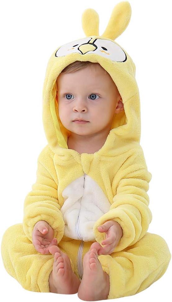 Michley Pagliaccetto con Cappuccio Bambino Tutina Neonato Pigiama Blue Horse 2-5 Mesi