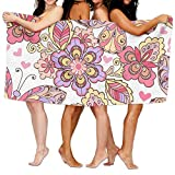 KTMB Colorful Beautiful Plants Animals Washable Extra Large Bath Beach Towel Soft Personality Towel