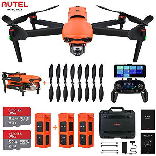 Autel Robotics EVO 2 Rugged Bundle 8K Camera Drone Foldable Drone Quadcopter, No Geo-Fencing (2021 Fly More Combo)