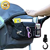 Stroller Organizer + Stroller Hook, Universal fit with Adjustable Straps, Stroller Caddy, Accessories Bag, Stroller Bag, Baby Accessories, Stroller Diaper bag (Black)