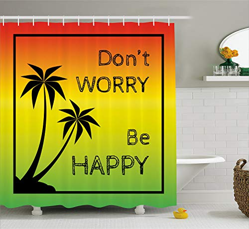 Ambesonne Rasta Shower Curtain, Dont Worry Be Happy Music Words of Iconic Singer Palms Ombre Colors, Cloth Fabric Bathroom Decor Set with Hooks, 70