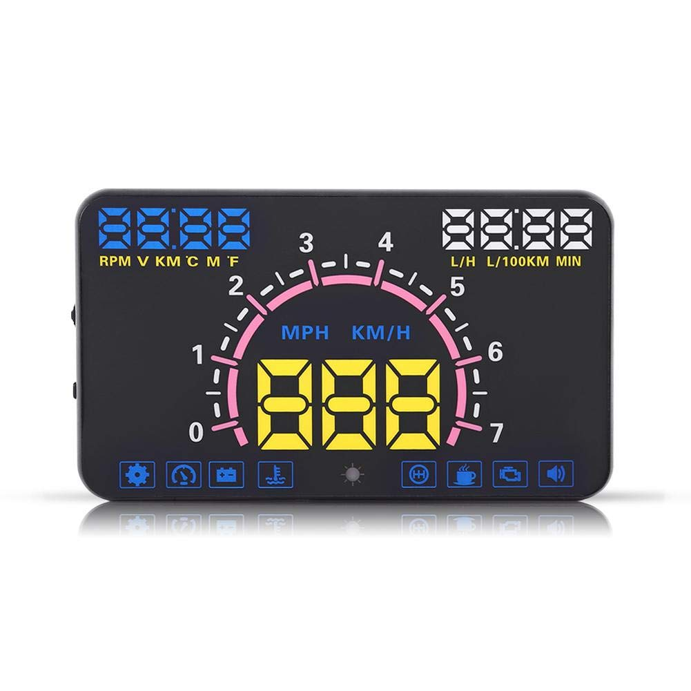 Fdit 5.8'' Car HUD Head Up Display with OBD2 and EUOBD Interface Speeding Warning Universal