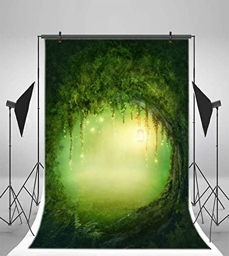 YEELE Enchanted Forest Backdrop 8x10ft Fluorescence Light in Olthe Tree Hole Jungle Photography Background Wonderland Theme Event Kids Adults Artistic Portrait Photobooth Studio Props Wallpaper