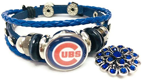 - Fashion Snap Jewelry MLB Chicago Cubs Blue Leather Bracelet W/Extra 18MM - 20MM Charm for Baseball Fans