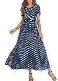 Romacci Women Polka Dot Long Dress Short Sleeves High Waist Tie A-Line Vintage Maxi Dress