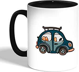 Printed Coffee Mug, Black, A blue car