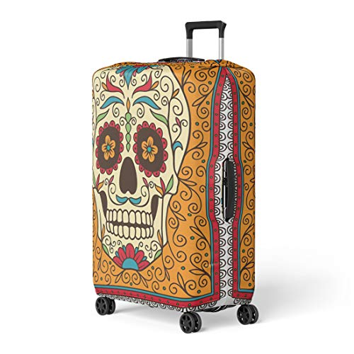 Pinbeam Luggage Cover Red Day Mexican Sugar Skull Yellow Dead Pattern Travel Suitcase Cover Protector Baggage Case Fits 22-24 -