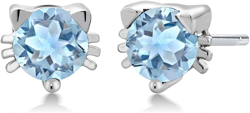 Gem Stone King 1.00 Ct Round 5mm Sky Blue Topaz 925 Sterling Silver Kitty Cat Stud Earrings