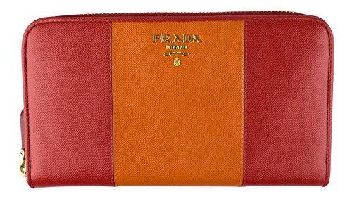 PRADA. Red/Orange Saffiano Textured Leather Wallet