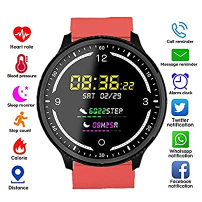QUARKJK Fitness Tracker Multi-Sports Mode Heart Rate Blood Pressure Oxygen Calorie Sleep Monitoring Reminder Push Dial Wristband Red Estimated Price -
