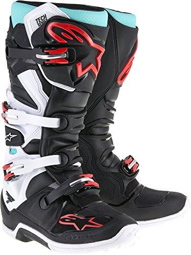 Alpinestars Tech 7 Mens Cyan Black Red Motocross Boots 12