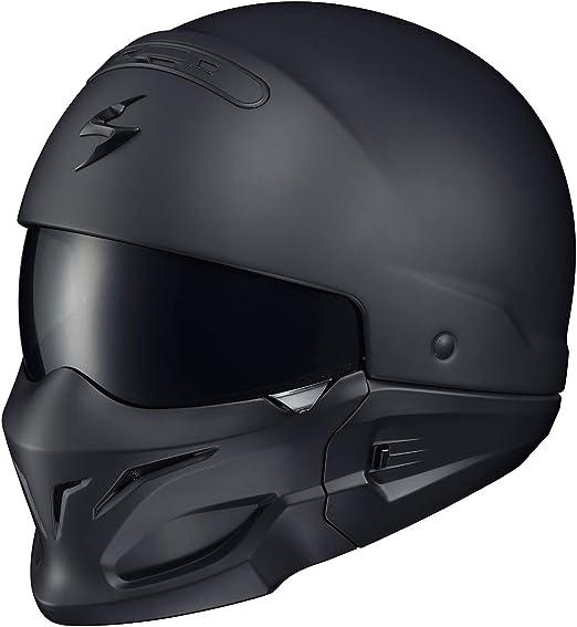 Scorpion EXO Combat Stealth Matte Black Silver Convertable Motorcycle Helmet