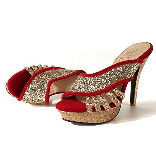 super tabella sexy i impermeabile sandali signore gules a lustrini spillo trentaquattro i tacchi sandali UqZIwgznw