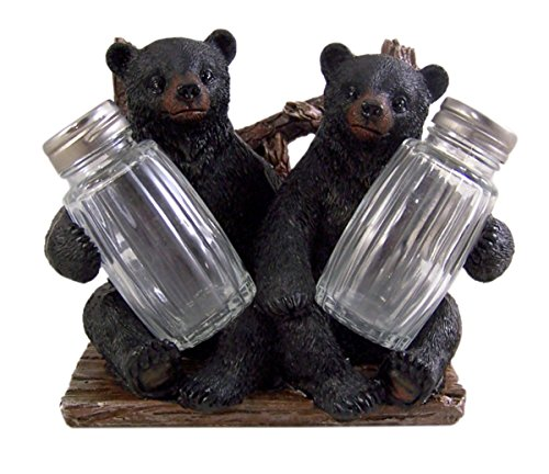 - Decorative Side by Side Black Bear Salt and Pepper Shaker Napkin Holder Shakers Included