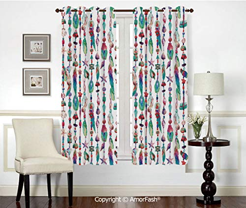 (Grommet Thermal Insulated Room Darkening Curtains for Living Room,Elegant Natural Feeling,42x63 Inch Feather Marine Accessory Chains Pendants Mineral Stones Shells Beads Watercolor Style Art Decorati)