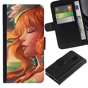 KLONGSHOP // Tirón de la caja Cartera de cuero con ranuras para tarjetas - Redhead atractivo - Samsung Galaxy S5 V SM-G900 //