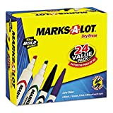 Avery Marks-A-Lot Dry Erase Markers, Assorted Colors (1 Black, 1 Blue, 1 Green, 1 Red) Pack 4 (24409)