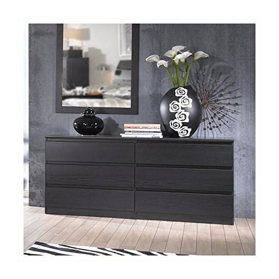 Pemberly Row Modern Contemporary 6 Drawer Wide Double Bedroom Dresser in Black Woodgrain - Six Drawer Double Dresser Foil surface Black Woodgrain finish - dressers-bedroom-furniture, bedroom-furniture, bedroom - 51XbdpKeT%2BL. SS570  -