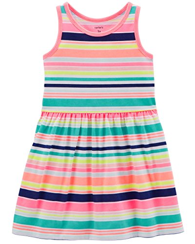 Carter's Girls' 2T-8, Lightweight Cotton Jersey Tank Dresses (Multi Neon Stripes, -