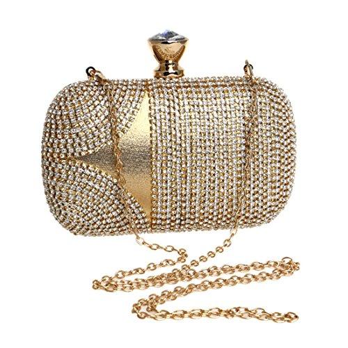 de Embrague Bolso de del Banquete Bolso Cuadrado del Gold Bolso Boda Mujeres Las 1 Rhinestone de Las del Mujeres Vestido del Color de del Banquete Bolso Cuadrado del YY1 AqvxBwOgH
