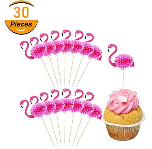30 Pack Flamingo Cake Toppers,Cupcake Decorations,Cocktail Tropical Food Drink Picks,for Luau Hawaii Birthday Wedding Beach Party