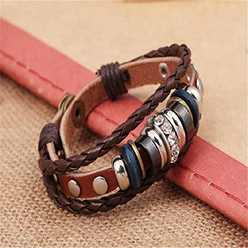 Foxishop Mens Bohemia Style Beaded Multilayer Hand Woven Bracelet Pendent Charm Wrist Bangle Wristband Fashion Jewelry