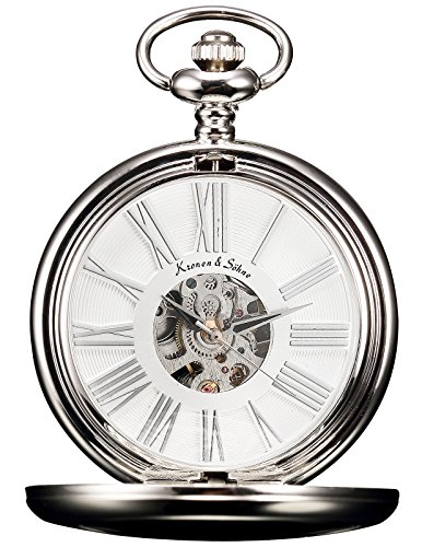 Mechanical Silver Dial (KS Full Hunter Steampunk Mechanical Smooth Silver Case Roman Numerals Pocket Watch White Dial KSP036)