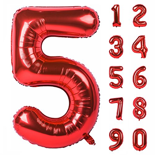 40 inch Large Numbers 0-9 Birthday Party Decorations Helium Foil Mylar Big Number(Balloon Red 5) -