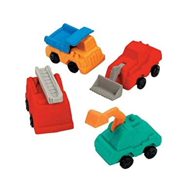 CONSTRUCTION TRUCK ERASERS - Stationery - 12 Pieces: Toys & Games [5Bkhe0406218]