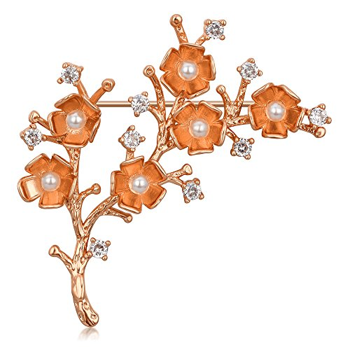 Kemstone Rose Gold Plated Pearl Crystal Plum Blossom Flower Brooch Pin ()