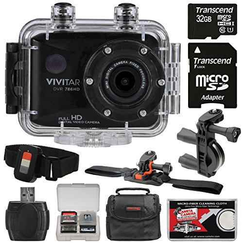 Vivitar DVR786HD 1080p HD Waterproof Action Video Camera Camcorder (Black) with Remote, Vented Helmet & Handlebar Bike Mounts + 32GB Card + Case + Kit