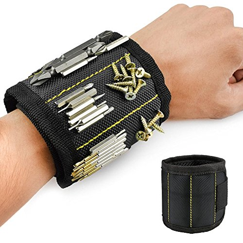 Welltop Magnetic Wristband Magnetic Armband Screws Holder Magnetic Wrist Tool Holder with Strong Magnets Adjustable Velcro Strap for Screws, Nails, Bolts, Drill Bits and Small Metal Tools