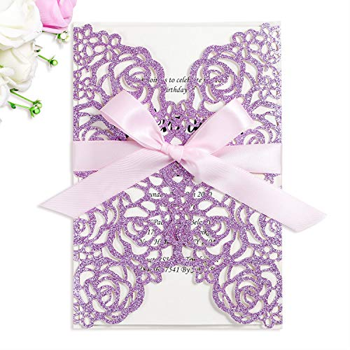 (PONATIA 25PCS/Lot 250GSM 5.12 x 7.1'' Laser Cut Invitations Hollow Rose With Light Pink Ribbons Glitter Wedding Invitations Cards For Wedding Bridal Shower Engagement Birthday (Purple Glitter))