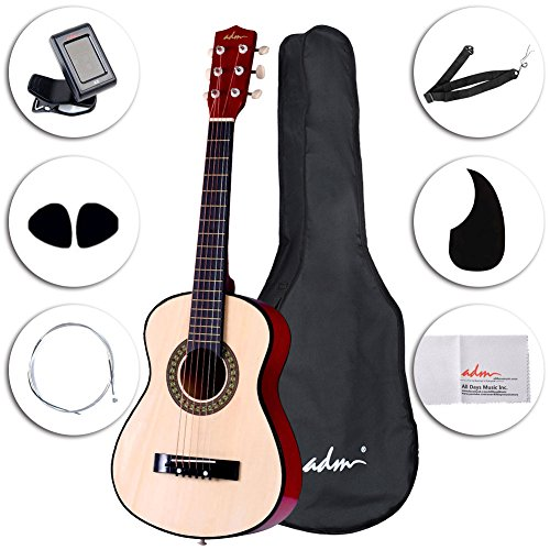 ADM 30 Inch Starter Acoustic Beginner Guitar with Carrying Bag & Accessories, Classical Guitar Starter Kits, Natural