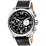 Perry Ellis Mens Watch Unisex GT 44mm Analog Quartz Watch with Genuine Leather Band Waterproof Women Gift Watch Anniversary Gifts for Men Fashion Luxury Casual Business Wrist Watch 01002-01