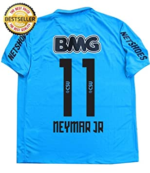 25e98173454 FULL SPONSOR NEYMAR #11 NEW 12-13 FC SANTOS 3rd BLUE FOOTBALL SHIRT SOCCER