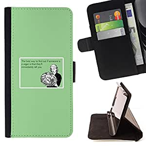 DEVIL CASE - FOR Apple Iphone 5 / 5S - Vegan Food Funny Quote Healthy Relationship - Style PU Leather Case Wallet Flip Stand Flap Closure Cover