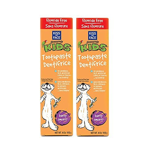 Face Kids Berry (Kiss My Face Berry Smart Obsessively Kids Toothpaste Fluoride Free with Cranberry and Tea Tree Oil, 4 fl. oz. (Pack of 2))