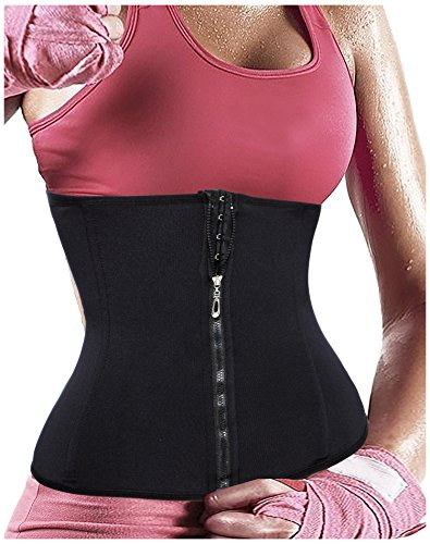 Gotoly Women's Underbust Zipper Corset Waist Trainer Cincher Body Shaper (XXS, Black)