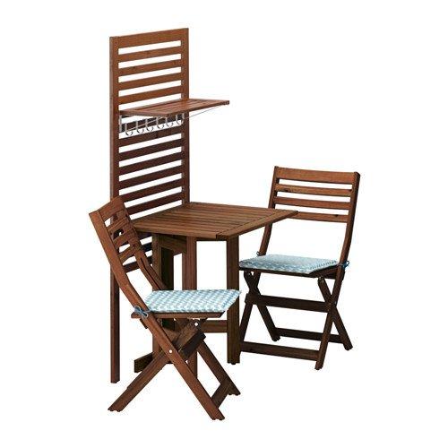 Ikea Wall panel, gateleg table & 2chairs, brown stained, Nästön light blue 20204.172023.2626 (Ikea Folding Garden Table)